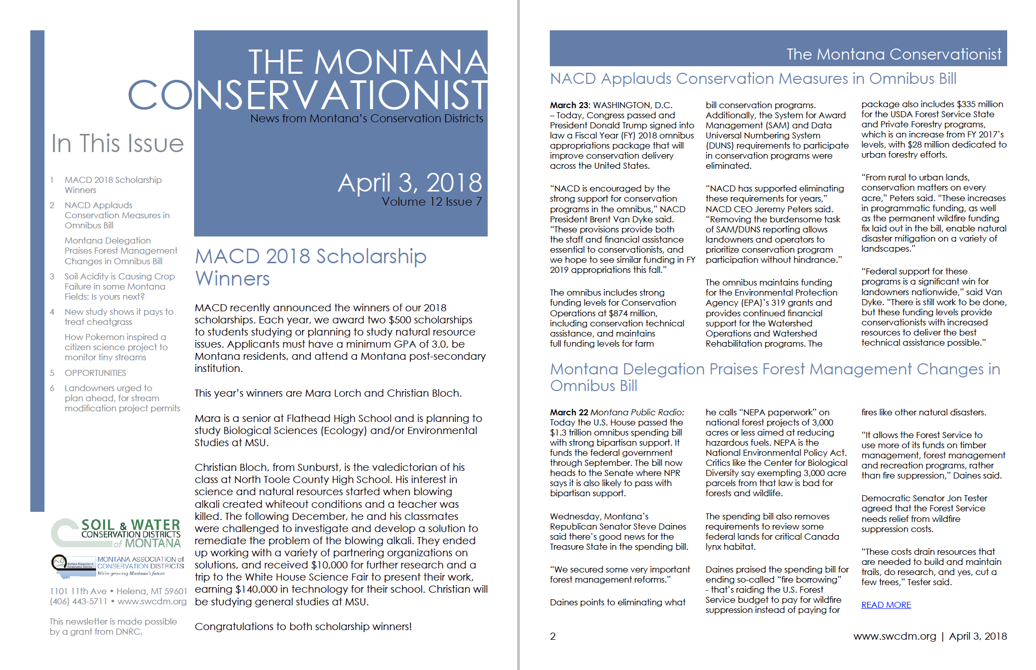The Montana Conservationist April 3